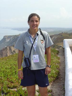 Helga no Cabo da Roca, ao serviço do 1.º Dezembro na UEFA Women's Cup 2005 (disputada em Sintra)