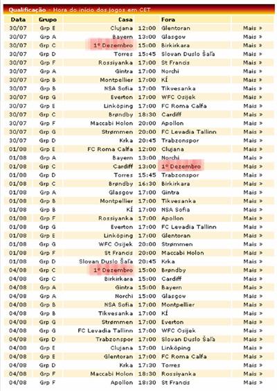 Calendário de Jogos previstos para dia 30 de Julho e 1 e 4 de Agosto