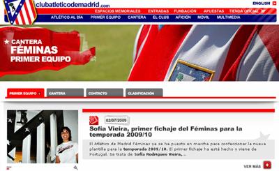 O destaque dado à portuguesa da página do Club Atletico de Madrid, Espanha
