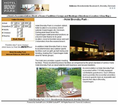 Página do Hotel Brondby Park