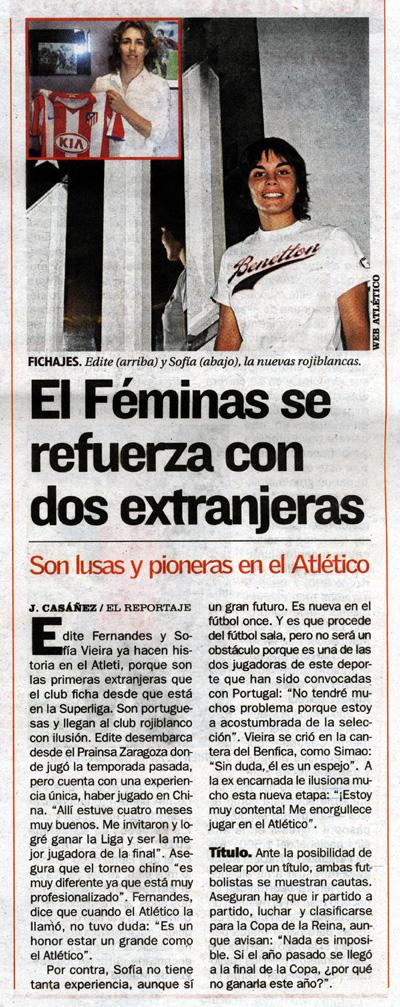 Notícia sobre a contratação das duas portuguesas pelo Atlético de Madrid