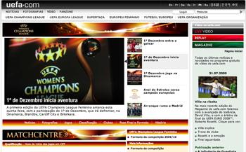 A página UEFA.com para a Liga dos Campeões Feminina