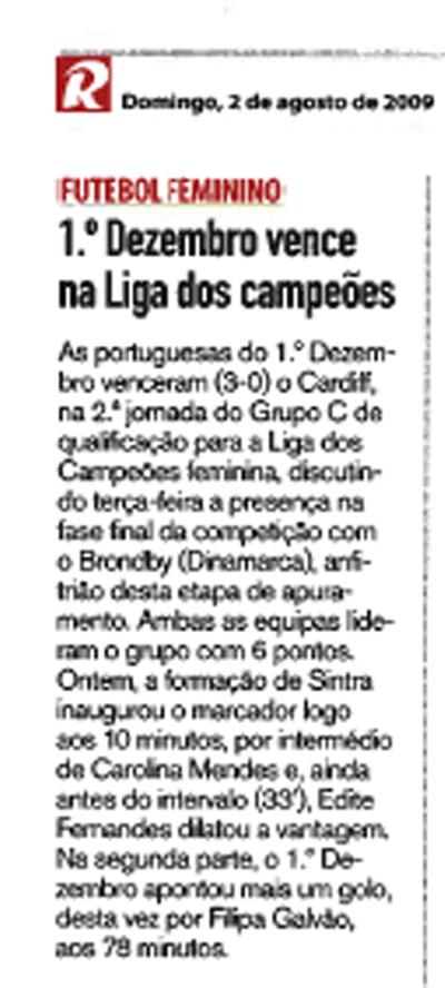 Notícia no Record, edição de 2 de Agosto de 2009