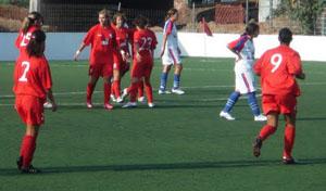 A equipa a festehjar um dos golos da partida