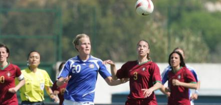 Kimberly Brandão no jogo entre Portugal e a Finlândia, no Algarve Cup (©FPARAISO)